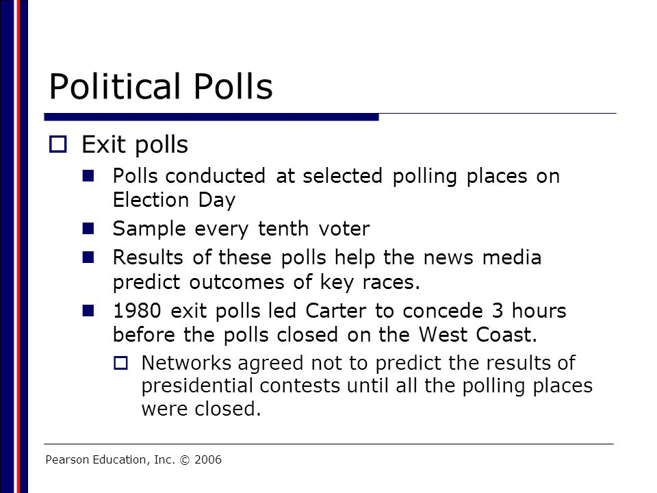 Pearson Education, Inc. © 2006 Political Polls  Exit polls Polls conducted at selected polling places on Election Day Sample every tenth voter Result