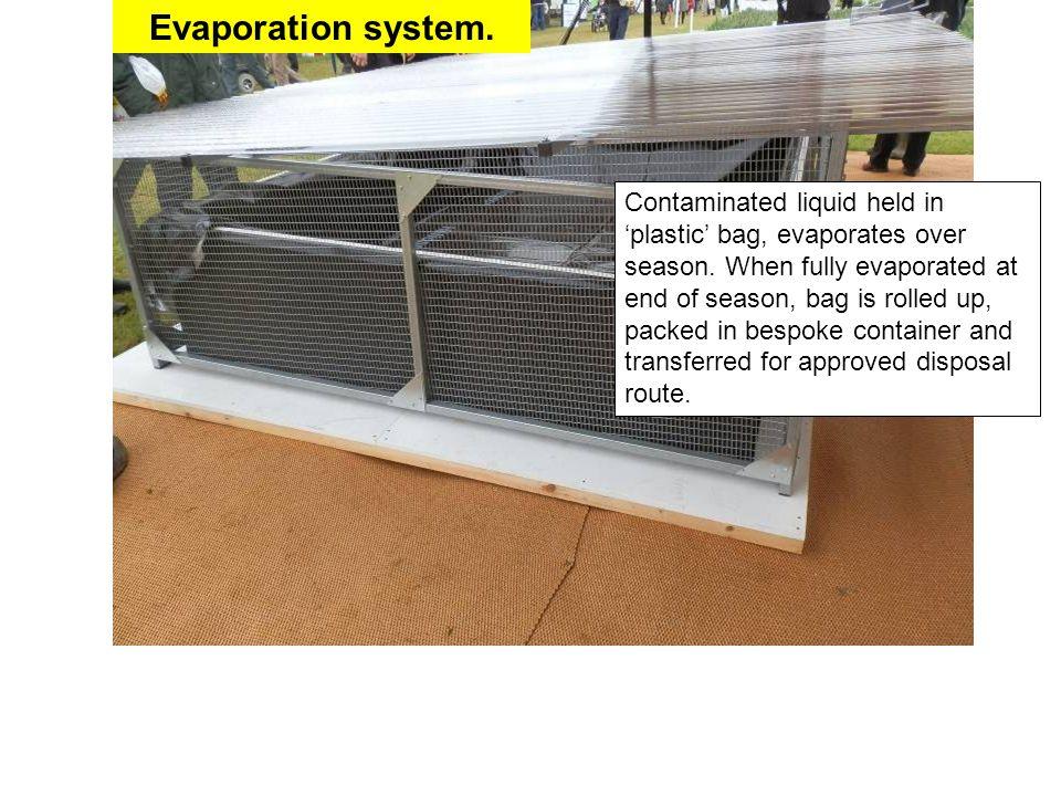 Evaporation system. Contaminated liquid held in 'plastic' bag, evaporates over season.