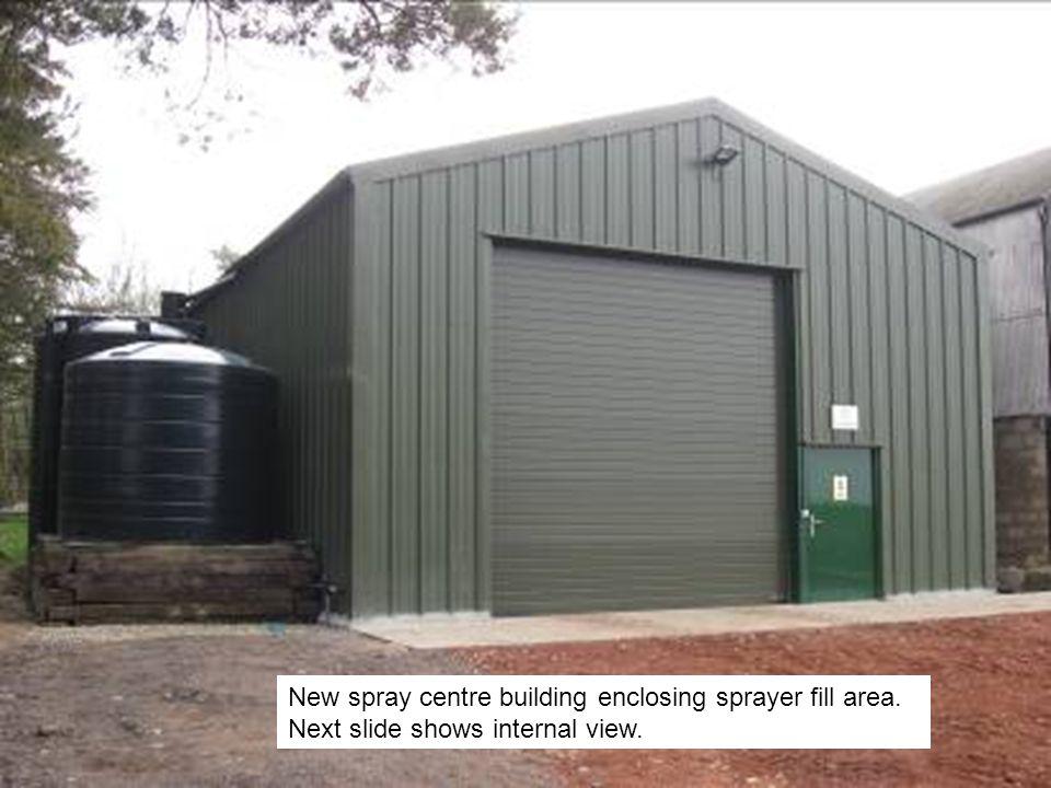 New spray centre building enclosing sprayer fill area. Next slide shows internal view.