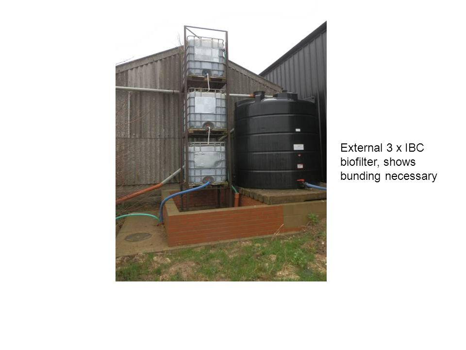 External 3 x IBC biofilter, shows bunding necessary