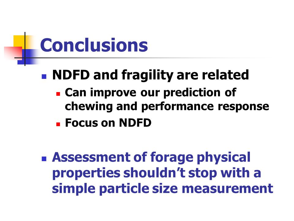 Conclusions NDFD and fragility are related Can improve our prediction of chewing and performance response Focus on NDFD Assessment of forage physical