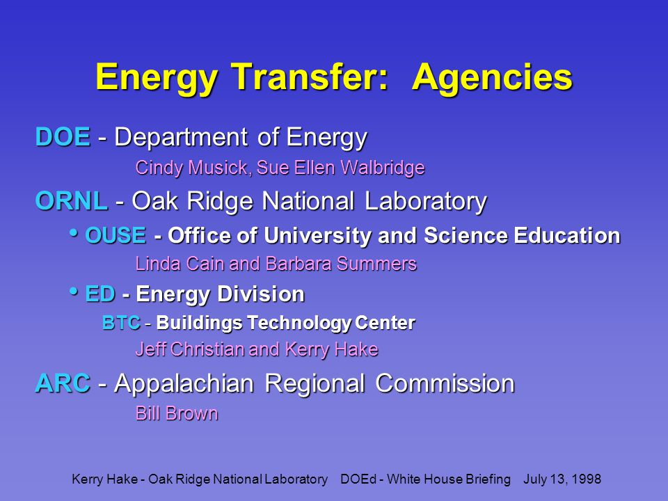 Kerry Hake - Oak Ridge National Laboratory DOEd - White House Briefing July 13, 1998 Energy Transfer: Community Maintain a core of ARC teachers Expand participation through teacher networking Face-to-face meetings Face-to-face meetings Video conferencing Video conferencing Chat room server Chat room server Electronic notebook Electronic notebook