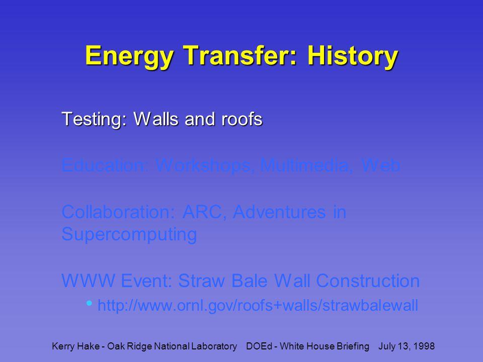 Kerry Hake - Oak Ridge National Laboratory DOEd - White House Briefing July 13, 1998 Wall Testing Equipment