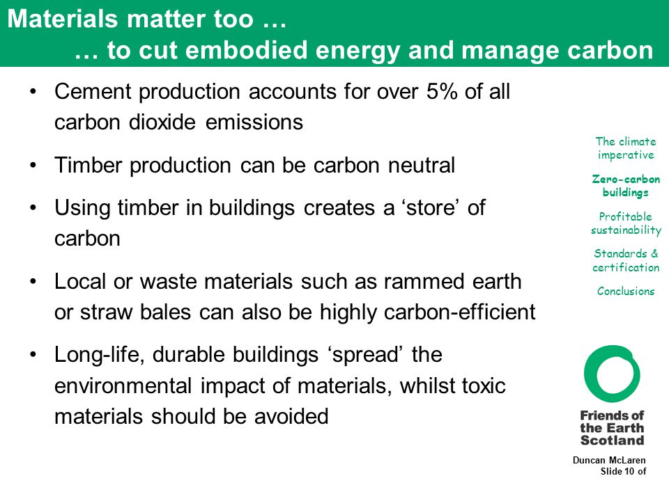 Duncan McLaren Slide 10 of Materials matter too … … to cut embodied energy and manage carbon Cement production accounts for over 5% of all carbon diox