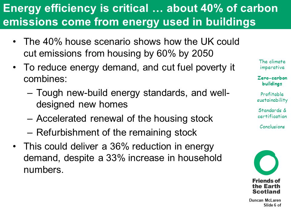 Duncan McLaren Slide 6 of Energy efficiency is critical … about 40% of carbon emissions come from energy used in buildings The 40% house scenario show