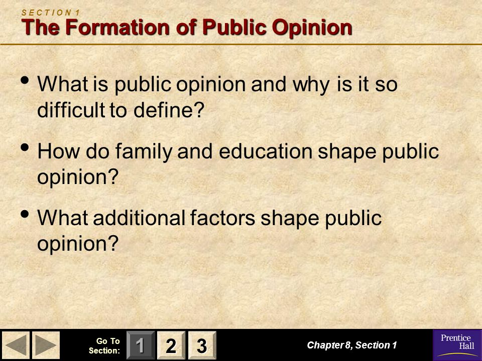 123 Go To Section: Public opinion can be described as those attitudes held by a significant number of people on matters of government and politics.