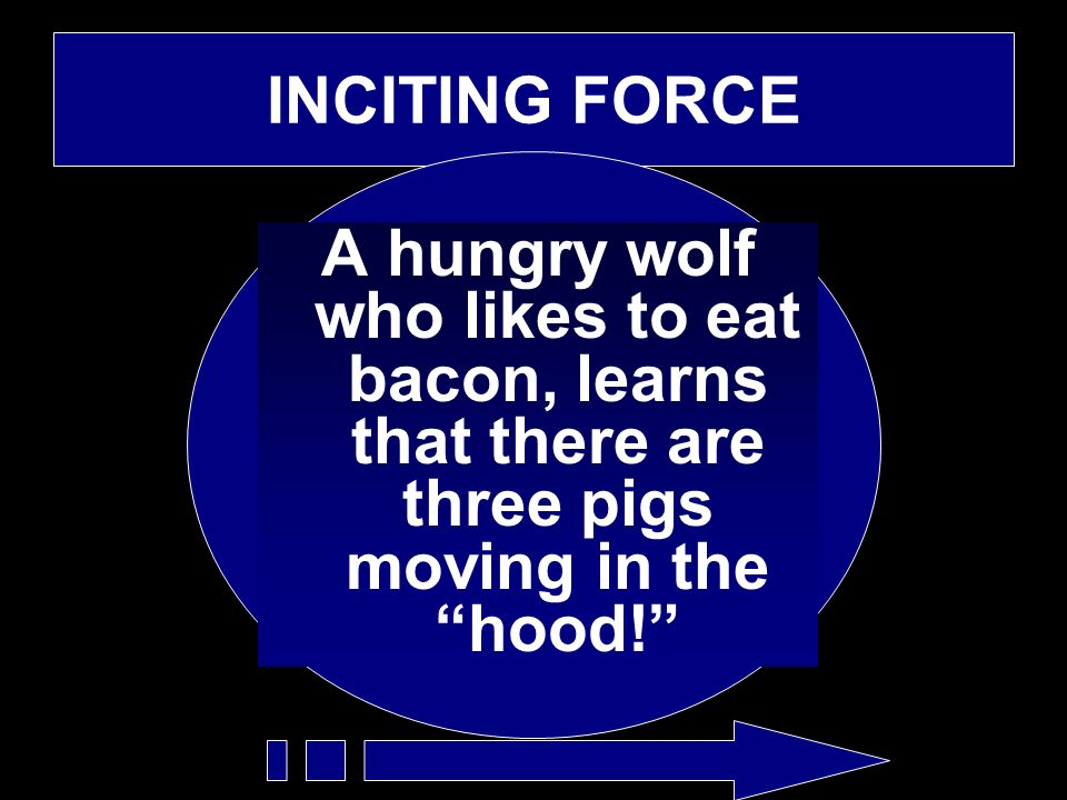 "INCITING FORCE A hungry wolf who likes to eat bacon, learns that there are three pigs moving in the ""hood!"""