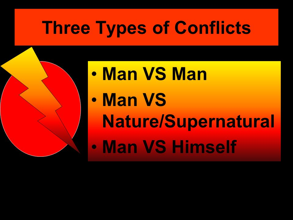 Three Types of Conflicts Man VS Man Man VS Nature/Supernatural Man VS Himself