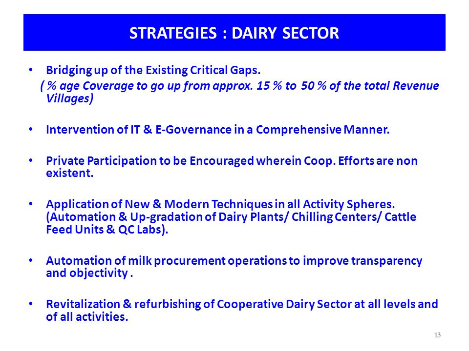 13 STRATEGIES : DAIRY SECTOR Bridging up of the Existing Critical Gaps.