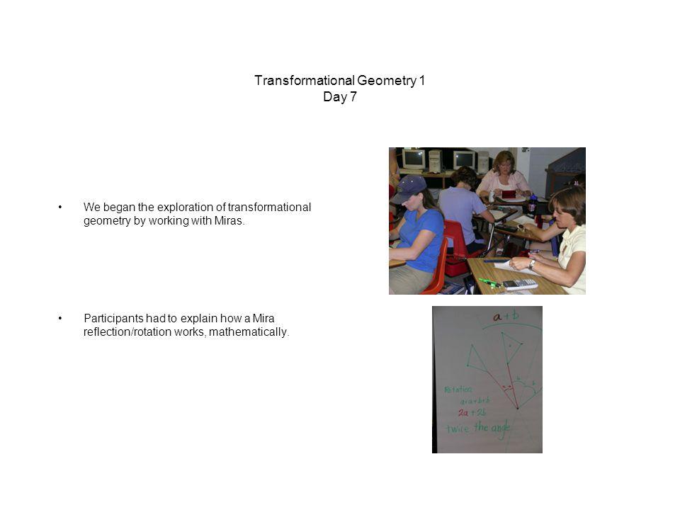 Transformational Geometry 1 Day 7 We began the exploration of transformational geometry by working with Miras.