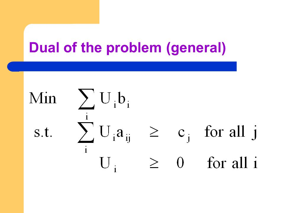 Dual of the problem (general)