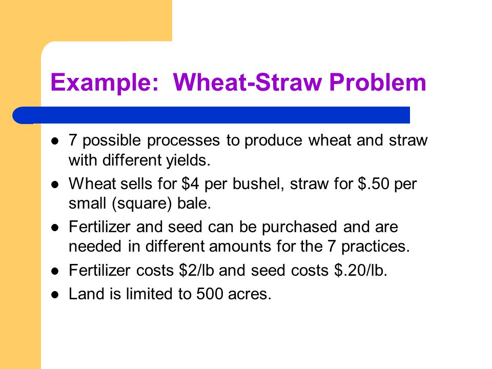 Example: Wheat-Straw Problem 7 possible processes to produce wheat and straw with different yields. Wheat sells for $4 per bushel, straw for $.50 per