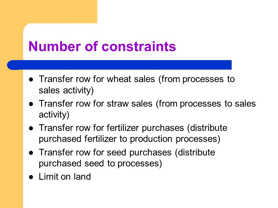 Number of constraints Transfer row for wheat sales (from processes to sales activity) Transfer row for straw sales (from processes to sales activity) Transfer row for fertilizer purchases (distribute purchased fertilizer to production processes) Transfer row for seed purchases (distribute purchased seed to processes) Limit on land