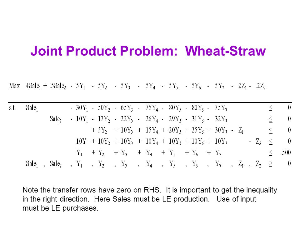 Joint Product Problem: Wheat-Straw Note the transfer rows have zero on RHS. It is important to get the inequality in the right direction. Here Sales m