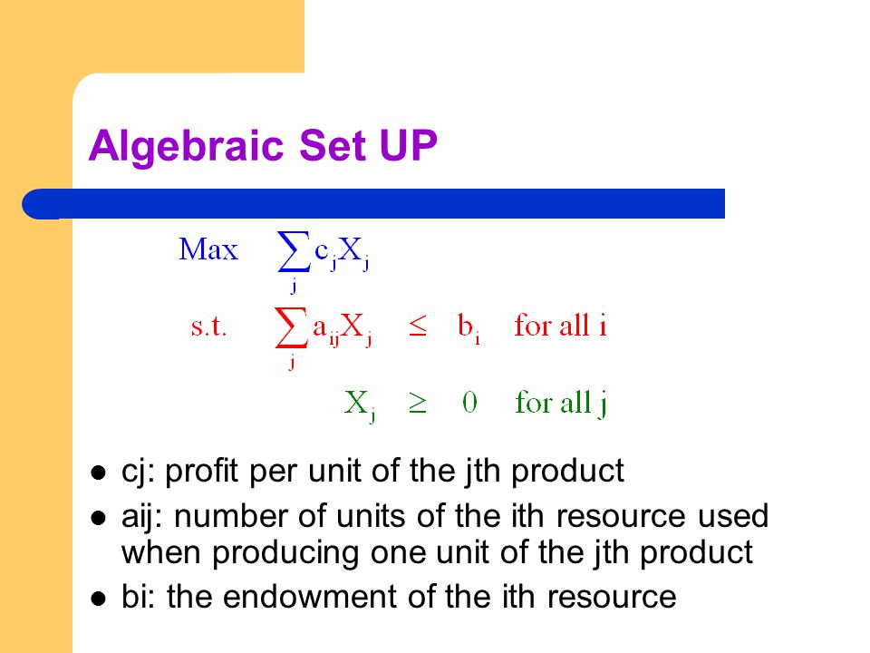 Algebraic Set UP cj: profit per unit of the jth product aij: number of units of the ith resource used when producing one unit of the jth product bi: the endowment of the ith resource