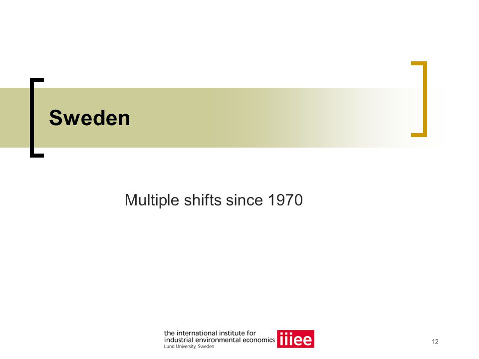 12 Sweden Multiple shifts since 1970