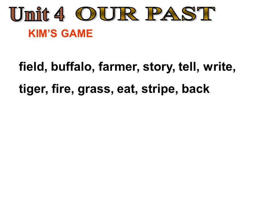 KIM'S GAME field, buffalo, farmer, story, tell, write, tiger, fire, grass, eat, stripe, back
