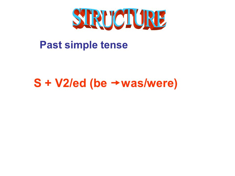 Past simple tense S + V2/ed (be  was/were)