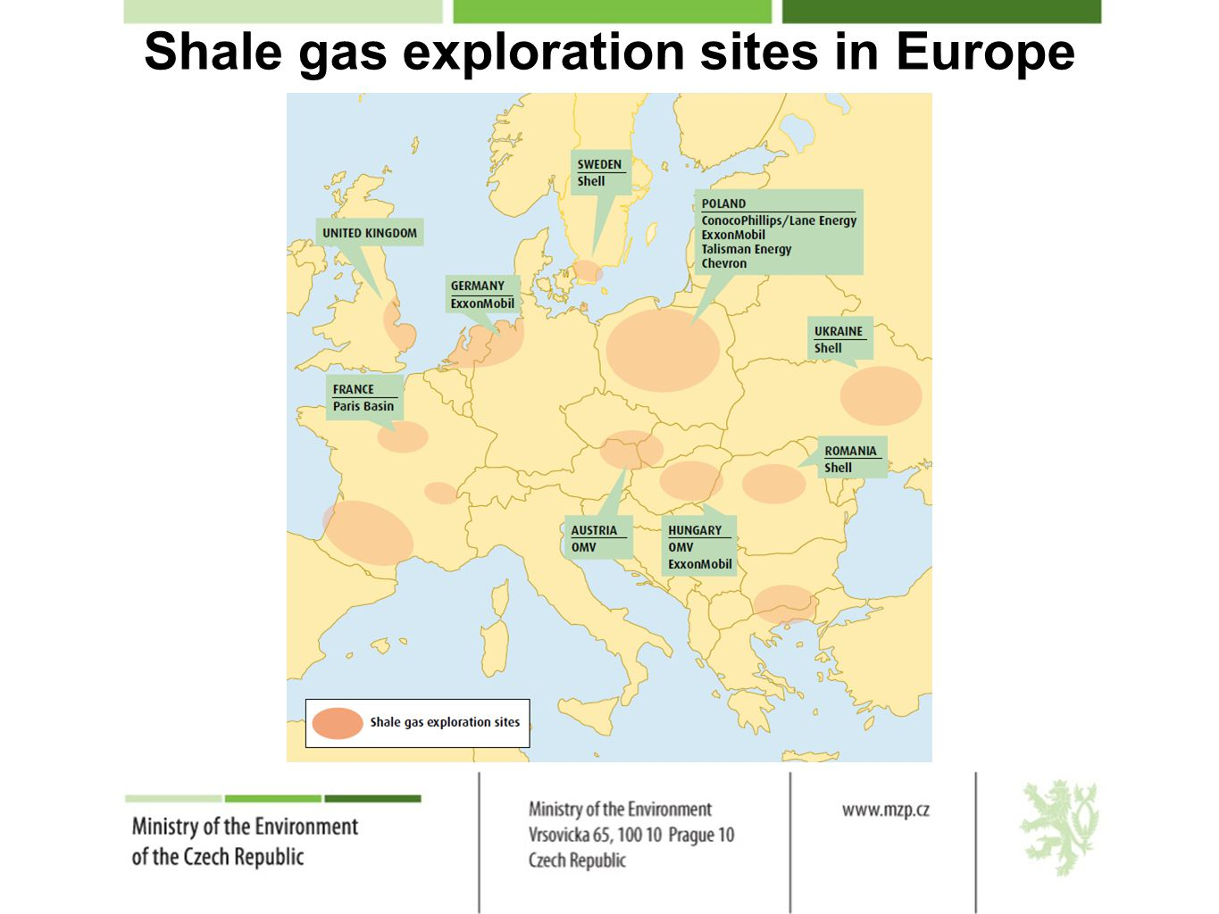 Shale gas exploration sites in Europe