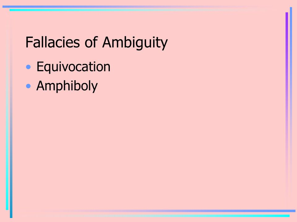 Fallacies of Ambiguity Equivocation Amphiboly