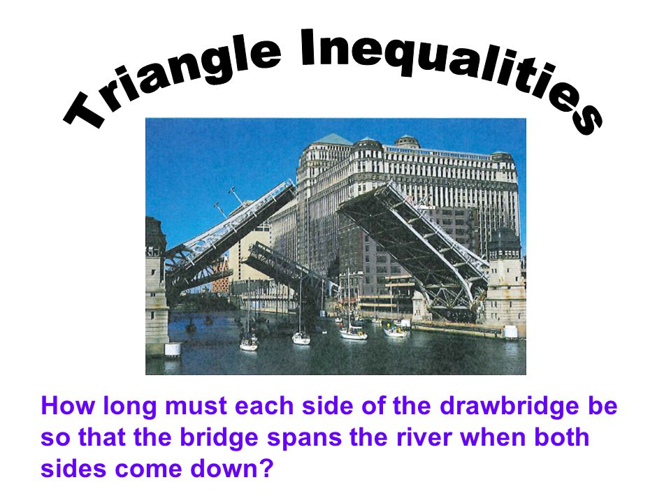 How long must each side of the drawbridge be so that the bridge spans the river when both sides come down