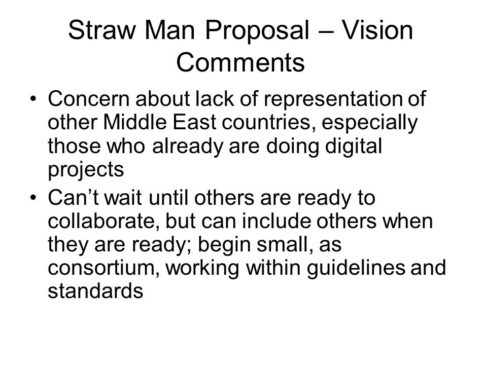 Straw Man Proposal – Vision Comments Concern about lack of representation of other Middle East countries, especially those who already are doing digit