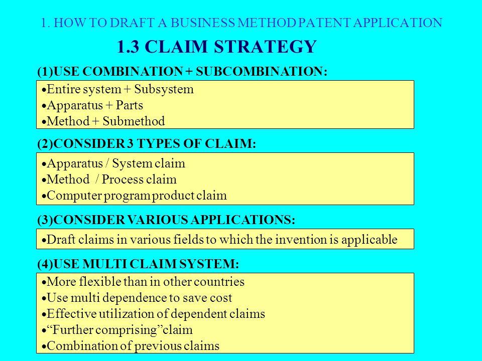 1.3 CLAIM STRATEGY 1.