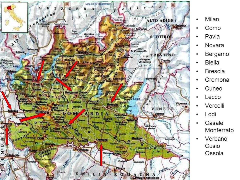 Milan Como Pavia Novara Bergamo Biella Brescia Cremona Cuneo Lecco Vercelli Lodi Casale Monferrato Verbano Cusio Ossola