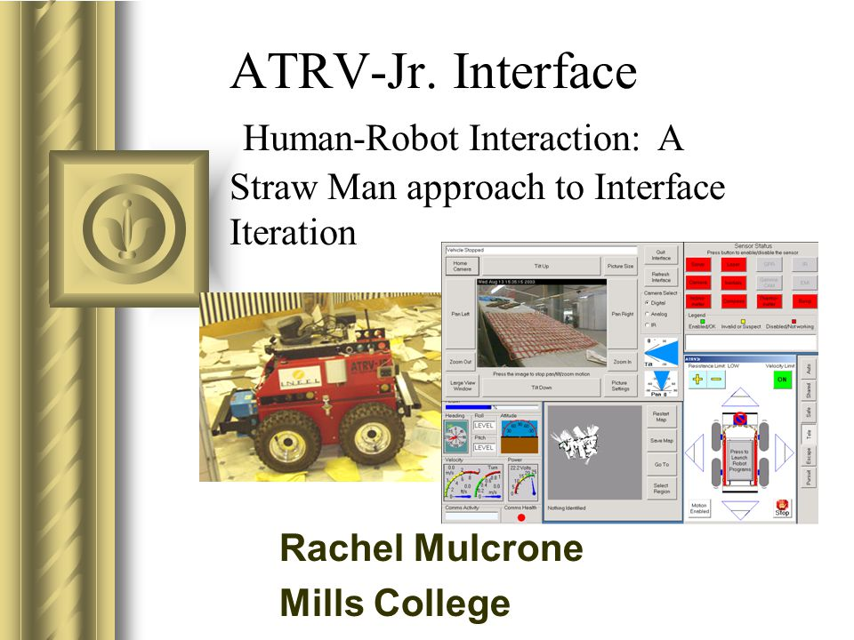 ATRV-Jr. Interface Human-Robot Interaction: A Straw Man approach to Interface Iteration This presentation will probably involve audience discussion, w
