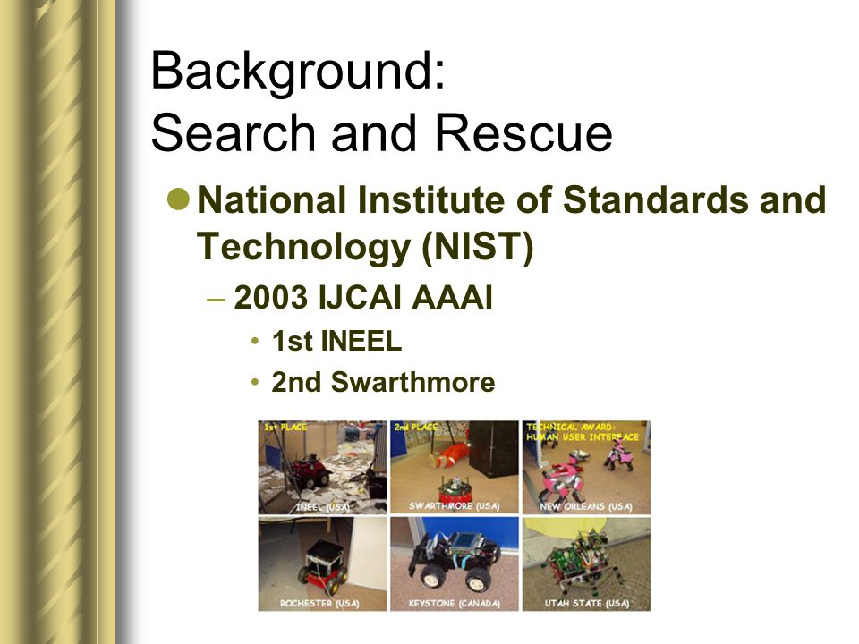 Background: Search and Rescue National Institute of Standards and Technology (NIST) –2003 IJCAI AAAI 1st INEEL 2nd Swarthmore