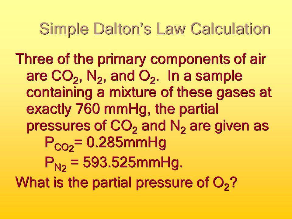 Dalton's Law of Partial Pressure P T =P 1 +P 2 +P 3 +… John Dalton 1766-1844