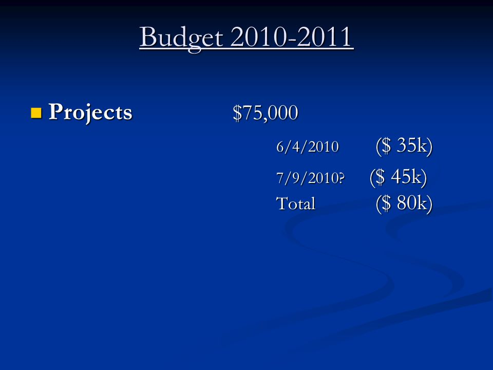 Budget 2010-2011 Projects $75,000 Projects $75,000 6/4/2010 ($ 35k) 7/9/2010? ($ 45k) Total ($ 80k)