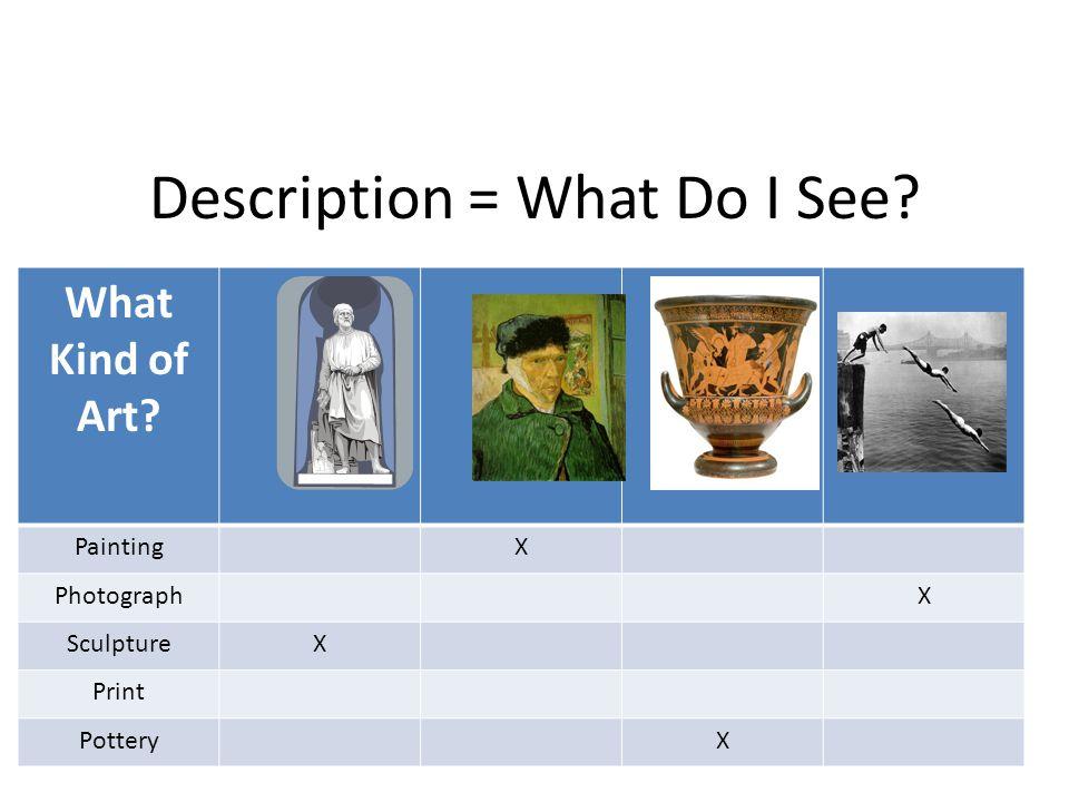 Description = What Do I See What Kind of Art PaintingX PhotographX SculptureX Print PotteryX