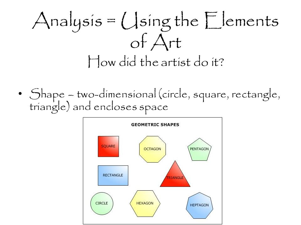 Analysis = Using the Elements of Art How did the artist do it.