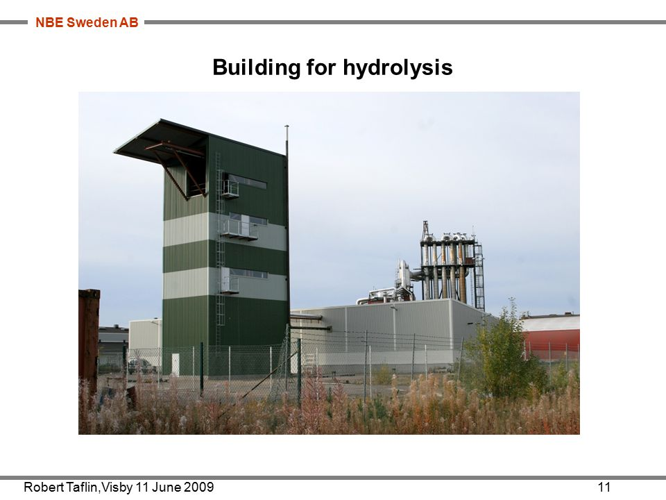 NBE Sweden AB Building for hydrolysis Robert Taflin,Visby 11 June 200911