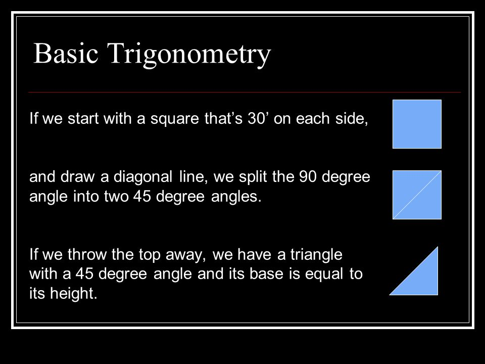 Basic Trigonometry If we start with a square that's 30' on each side, and draw a diagonal line, we split the 90 degree angle into two 45 degree angles.