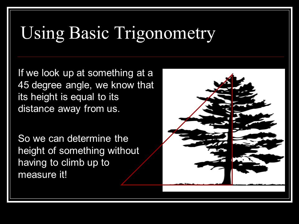 Using Basic Trigonometry If we look up at something at a 45 degree angle, we know that its height is equal to its distance away from us.