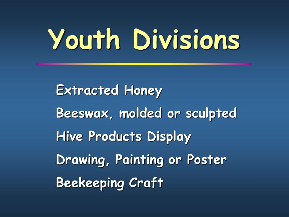 Youth Divisions Extracted Honey Beeswax, molded or sculpted Hive Products Display Drawing, Painting or Poster Beekeeping Craft