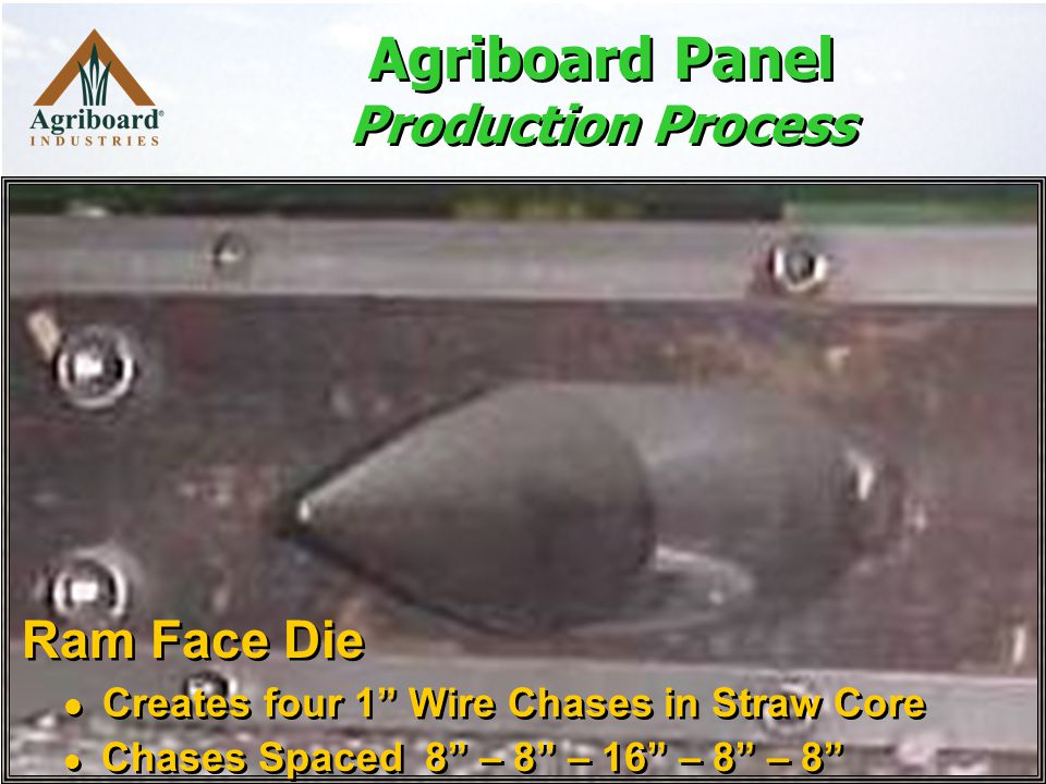 Ram Face Die Creates four 1 Wire Chases in Straw Core Chases Spaced 8 – 8 – 16 – 8 – 8 Ram Face Die Creates four 1 Wire Chases in Straw Core Chases Spaced 8 – 8 – 16 – 8 – 8 Agriboard Panel Production Process