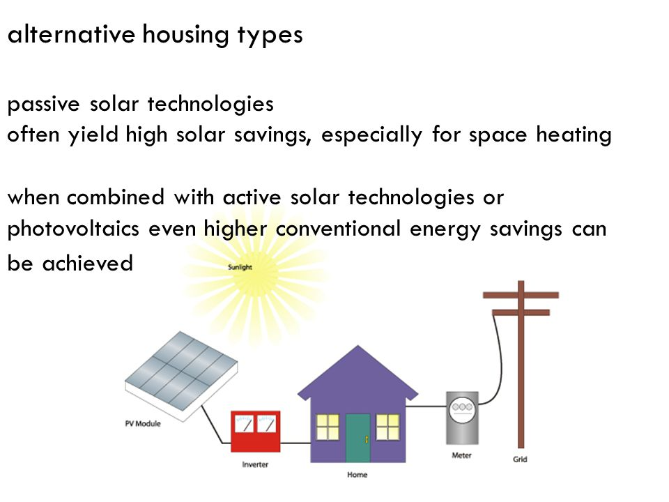 alternative housing types passive solar technologies often yield high solar savings, especially for space heating when combined with active solar tech
