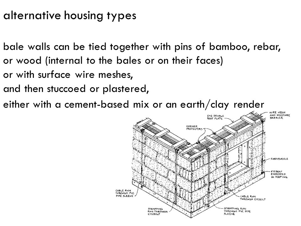 alternative housing types bale walls can be tied together with pins of bamboo, rebar, or wood (internal to the bales or on their faces) or with surfac
