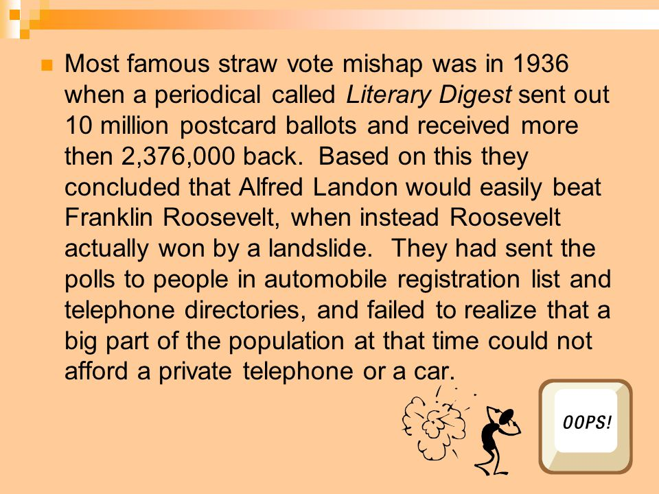 Most famous straw vote mishap was in 1936 when a periodical called Literary Digest sent out 10 million postcard ballots and received more then 2,376,0