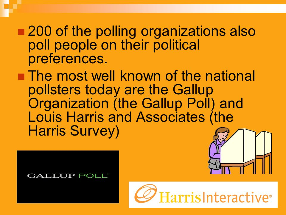 200 of the polling organizations also poll people on their political preferences. The most well known of the national pollsters today are the Gallup O
