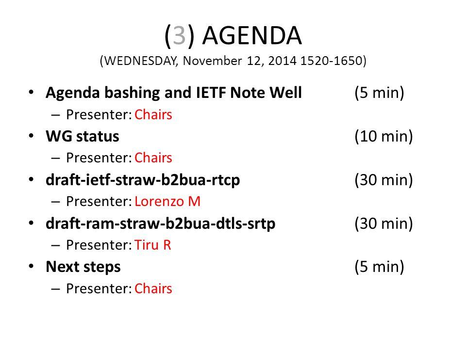 (3) AGENDA (WEDNESDAY, November 12, 2014 1520-1650) Agenda bashing and IETF Note Well(5 min) – Presenter: Chairs WG status(10 min) – Presenter: Chairs draft-ietf-straw-b2bua-rtcp(30 min) – Presenter: Lorenzo M draft-ram-straw-b2bua-dtls-srtp(30 min) – Presenter: Tiru R Next steps(5 min) – Presenter: Chairs