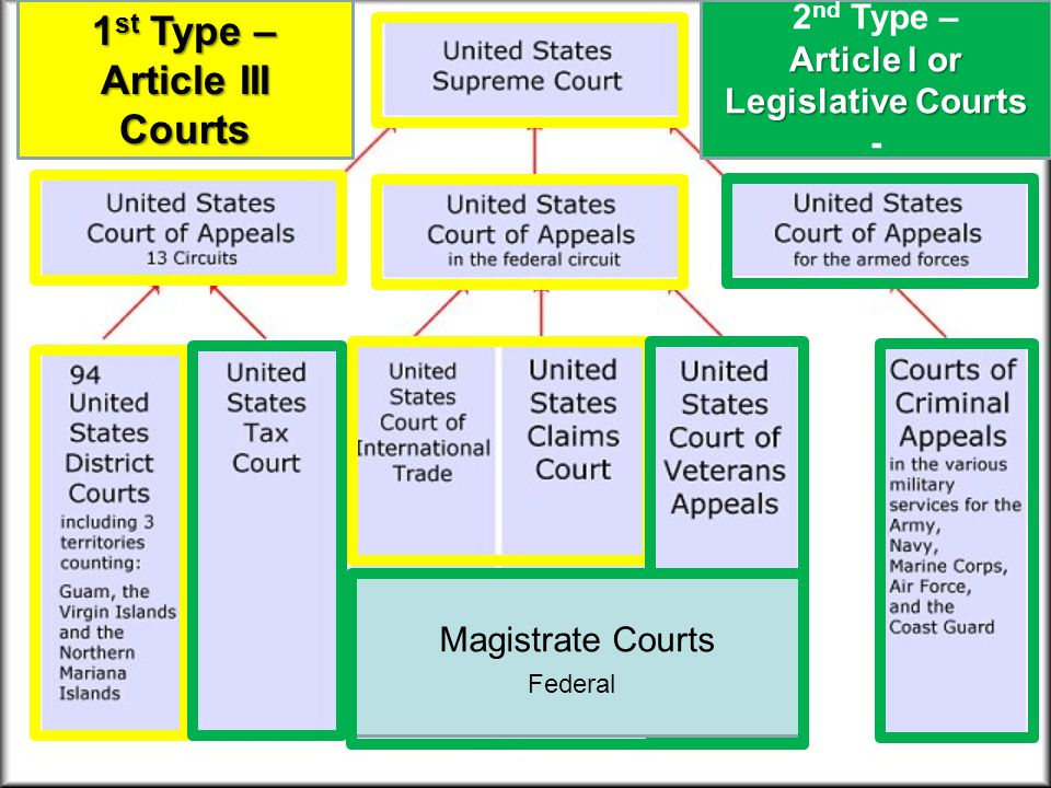 1 st Type – Article III Courts Magistrate Courts 2 nd Type – Article I or Legislative Courts - Federal