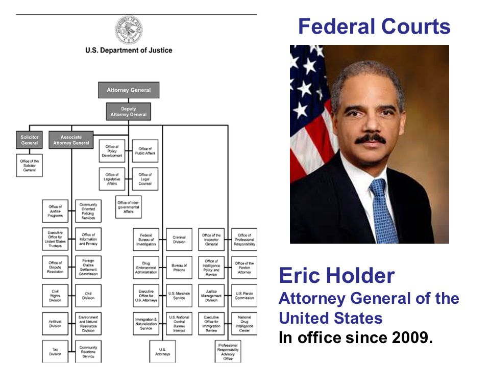 Federal Courts Eric Holder Attorney General of the United States In office since 2009.