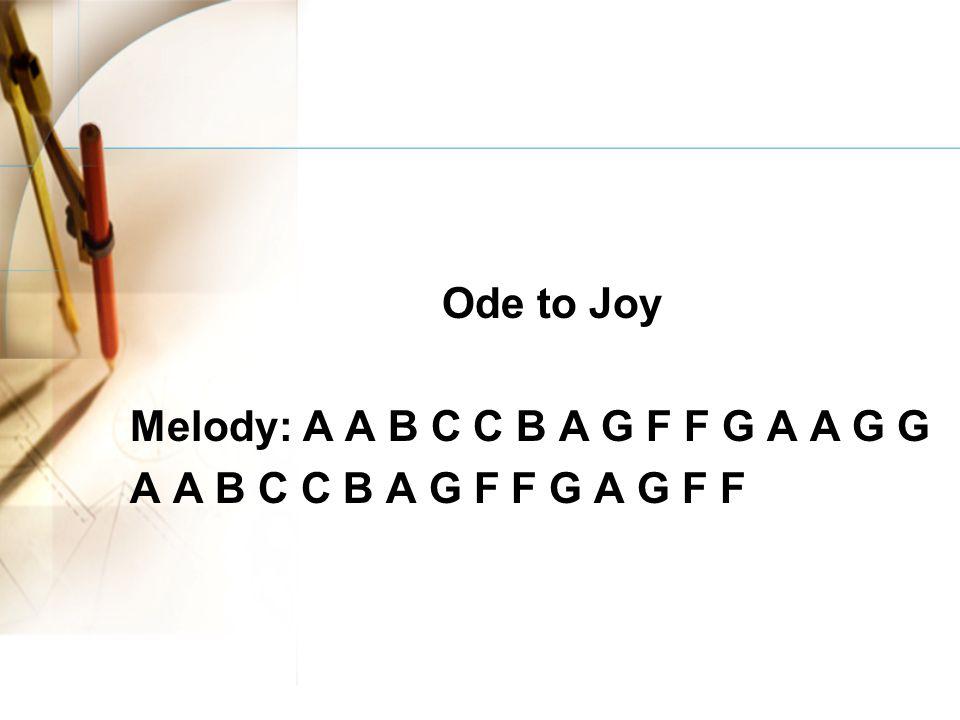 Ode to Joy Melody: A A B C C B A G F F G A A G G A A B C C B A G F F G A G F F
