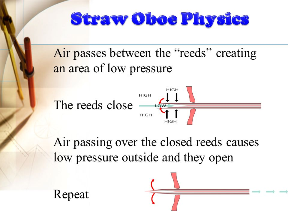"""Air passes between the """"reeds"""" creating an area of low pressure The reeds close Air passing over the closed reeds causes low pressure outside and they"""