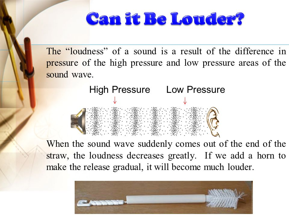 The loudness of a sound is a result of the difference in pressure of the high pressure and low pressure areas of the sound wave.
