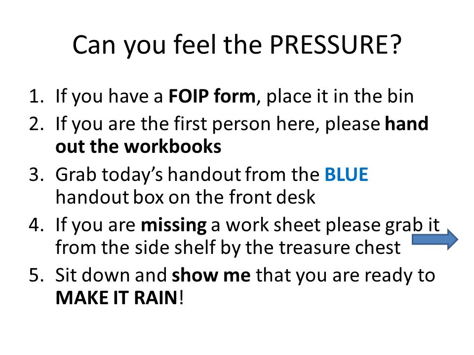 Can you feel the PRESSURE.